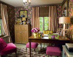 From www.officeideas.net. Gotta love an office with a chandelier!