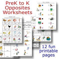 Printable Language Arts FREEBIE of the Day: Opposites Worksheets packet -- 12 pages of fun! Opposites Preschool, Opposites Worksheet, Preschool Learning Activities, Homeschool Kindergarten, Preschool At Home, Preschool Math, Preschool Worksheets, Classroom Activities, Teaching Kids