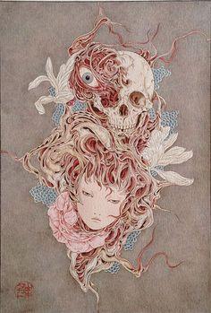 Japanese Art Modern, Japanese Artists, Arte Horror, Horror Art, Art Kawaii, Art Chinois, Design Digital, Art Simple, Art Watercolor