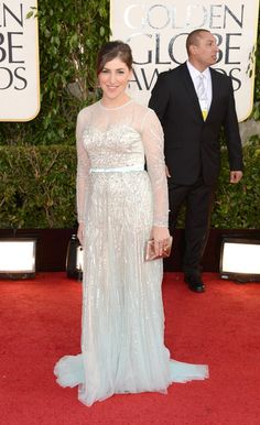 Mayim Bialik arrives at the 70th Annual Golden Globe Awards held at The Beverly Hilton Hotel on January 13, 2013 in Beverly Hills, California.