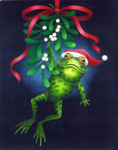Leap Cute Frog E ~Stephanie Stouffer. Funny Frogs, Cute Frogs, A Christmas Story, Christmas Art, Frog Quotes, Le Gui, Frog Illustration, Frog Pictures, Frog Crafts
