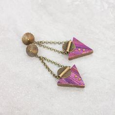 Dangle Triangle Earrings Modern Geometric Earrings Drop Minimalist Earrings polymer clay earrings Eva Andre Design