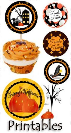 free Halloween printables. Put on a toothpick and put on top of a cupcake