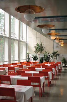 The canteen. Alvar Aalto, Paimio Sanatorium, Finland. 1933.  No glare on lighting from bronze