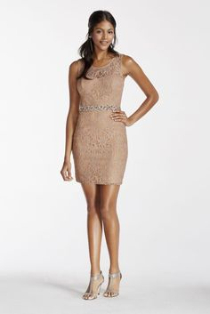 Illusion Lace Tank Short Dress with Sequin Waist - Taupe (Brown), 16