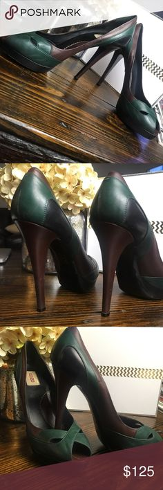 Kenzo color block heels In excellent condition super high adorable color block heels.  These have been worn a few times so there is some slight wear but they are so fabulous!!  FR SIZE 49 - US SIZE 9  *poshmark list a size 9 as a 39 so be aware that this is a 40. Kenzo Shoes Heels