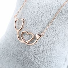 Medical Stethoscope Heart Pendant Necklace - 925 Sterling Silver - Owl J  - 7