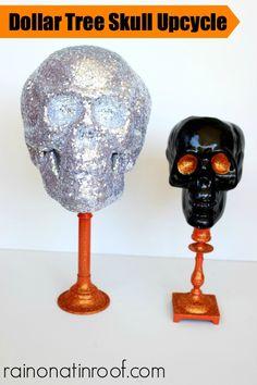 Dollar Tree Skull Upcycle {rainonatinroof.com} #halloween #upcycle #skull
