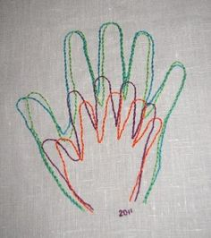 Trace a hand from each family member and stitch onto fabric and hang