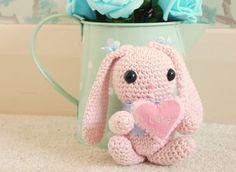 Amigurumi cotton yarn Crochet Bunny. Baby Pink bunny rabbit holding a personalized heart. Kawaii, Valentine, Birthday, Thinking of You Gift.