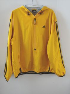 Men's ADIDAS Black & Gold Pullover Jacket Hooded Lined Dk Yellow Two Pockets #adidas #CoatsJackets