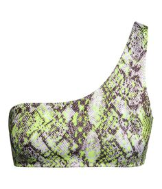 Fully lined one-shoulder bikini top with scuba-style fabric & neon snakeskin pattern. | H&M Swim