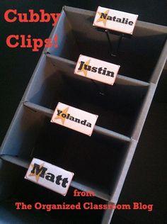 Binder Clips to label cubbies?  Hmmm.  Great Idea!