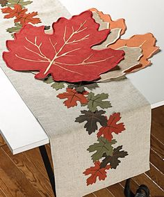 Loving this Linen Leaf Table Runner