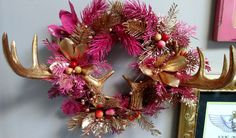 Check out this item in my Etsy shop https://www.etsy.com/listing/492670667/handmade-pink-and-gold-holiday-wreath