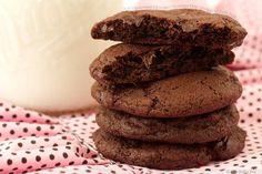 Soft Cinnamony Chocolate Chocolate Chip  Cookies with Cold Milk
