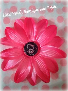 Pink Lilly hair flower with Hello kitty glitter bottle by KaySki2, $5.00