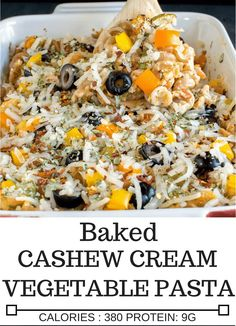 Baked Cashew Cream Vegetable Pasta is packed with delicate flavors and loaded with nutrition | V | kiipfit.com