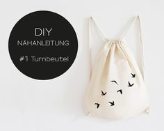 DIY Nähanleitung, Turnbeutel, Rucksack  // DIY sewing instruction, gym bag by EULENSCHNITT via DaWanda.com