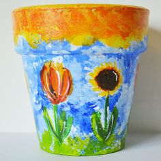 "Upcycled Clay Pot - ""Tulip & Sunflower Garden"", Paradis Terrestre - Luxury British Made Accessories & Homeware"