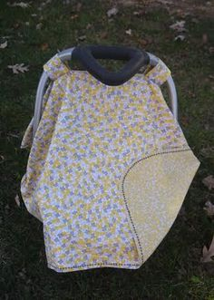Yellow and Grey floral car seat canopy by BBsBanners on Etsy