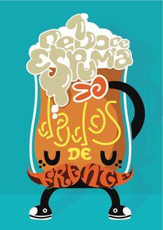 """Simpática ilustración para concurso de Cervecear: """"Un dedo de espuma dos, dos dedos de frente"""" por Samanta Serran Subtil, en la que se ha usado las figuras retóricas de la personificación y el tipograma."""