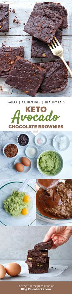 Keto Avocado Chocolate Brownies- Keto Avocado Chocolate Brownies Ultra silky and moist, these chocolate keto brownies are filled with creamy avocado for ample antioxidants. Desserts Keto, Paleo Dessert, Dessert Recipes, Ketogenic Recipes, Paleo Recipes, Low Carb Recipes, Keto Brownies, Chocolate Brownies, Avocado Brownies