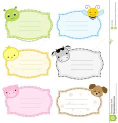 Illustration about Cute colorful animal labels set isolated on white background. Illustration of card, faces, frames - 21614938 Printable Animals, Printable Labels, Printable Stickers, Printable Name Tags, Book Labels, Kids Labels, Name Tag For School, Minnie Mouse Cartoons, Nametags For Kids