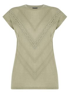 Clothing | Green LINEN LOOK TRIM DETAIL TEE | Warehouse
