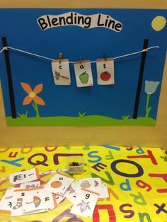 Made my own blending line for my reception class today. They were very intrigued and hopefully it will encourage them to think about the sounds that make up words :) (photo only) Eyfs Activities, Phonics Games, Phonics Reading, Teaching Phonics, Kindergarten Literacy, Early Literacy, Classroom Activities, Jolly Phonics Activities, Teaching Resources