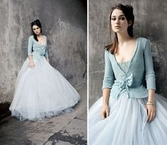 In ancient times Irish brides wore a blue wedding gown as blue was then the symbol of purity. I love this pale blue wedding gown and the fitted cardigan is so pretty, perfect for an autumn or winter wedding. Blue Wedding Dresses, Wedding Attire, Blue Dresses, Wedding Gowns, Dresses With Sleeves, Tulle Wedding, Wedding Colors, Wedding Bride, Wedding Skirt