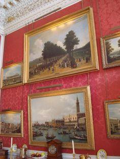 Works of art in Crimson Dining Room of Castle Howard. Yorkshire, England, UK