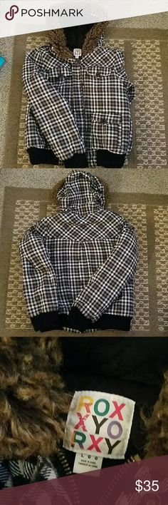 ROXY JACKET Black and white checker and has the fur around the hood Roxy Jackets & Coats