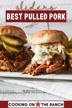 Pulled Pork Sliders, Beef Sliders, Chicken Sliders, Turkey In Roaster, Shredded Pork, Slider Recipes, Roasting Pan, The Ranch, Sandwiches
