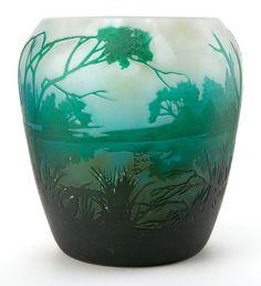 DAUM GLASS LANDSCAPE VASE . White glass etched in a woodlandscape scene, circa 1900.
