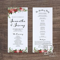 Best Printable Wedding Programs Images On Pinterest Free - Floral wedding program templates