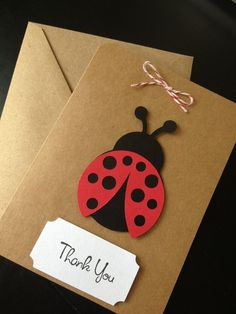 Ladybug Thank You Cards Handmade for Kid's Birthday Party or Baby Shower on Kraft Paper, Set of 8 Thank You Cards