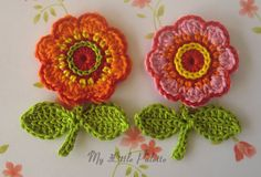NEWCrochet Flowers with leaves 4 pc  1 by Mylittlepalette on Etsy, $8.00
