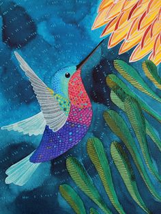 Beautiful Hummingbird painting by Geninne Zlatkis.