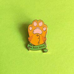Orange kitty paw Toe bean team Hard enamel pin - $10.00