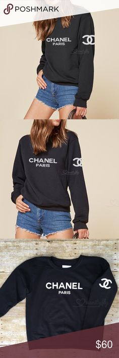 Chanel Sweatshirt Cute Fashion Sweatshirt Black w/WHITE Letters Crew Neck | Size MEDIUM (Sizes S-XL also available) Brand New!! | Never worn!!  ✨CUSTOM MADE for Chanel lovers ✨ SHIPS FAST  CHANEL Sweaters Crew & Scoop Necks