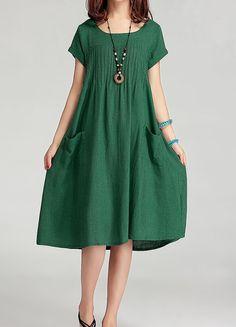 Lovely green! Linen dress maxi dress short sleeve dress by Perfect Clothing, $55.00