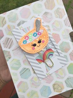 Orange/Gold/Kawaii/Cereal Bowl/Sparkle Applique Paper Clip/Planner Clip/Bookmark/Journal Marker by pinkiebows on Etsy