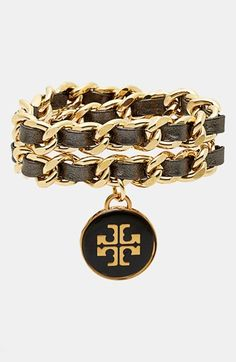 Tory Burch Leather Woven Chain Wrap Bracelet available at #Nordstrom