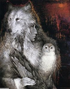 Wolf and owl.this is just one of many prints in our home as they represent two of the animals on our totems. Artwork by Susan Seddon Boulet. Spirit Art, Wolf Spirit, Native Art, Native American Indians, Art Visionnaire, Power Animal, She Wolf, Art Original, Visionary Art