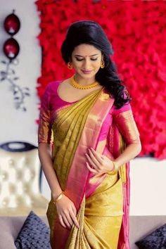 Saree wedding South Indian Soft Silk Designer Saree 6053 - Sari Bhandar Easy Access Showers for the Pattu Saree Blouse Designs, Blouse Designs Silk, Saree Blouse Patterns, Designer Blouse Patterns, Bridal Blouse Designs, Blouse Silk Saree, Designer Saree Blouses, South Indian Blouse Designs, New Saree Designs