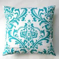 Premier Prints Traditions Turquoise Damask Pillow Cover- 20x20 inches- Hidden Zipper Closure. $22.95, via Etsy.