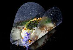 Clear Canape - Asparagus, Miso foam, Malt Crumbles