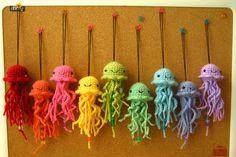 hand knit, jelly fish, plushy, rainbow