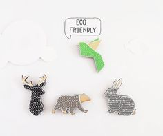 Stag Bunny Bear Bird Brooch - Eco Friendly Doodle Brooches Black white Grey Green